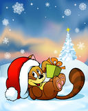 Cute cat playing with gift on snow Royalty Free Stock Photos
