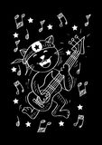 Cute cat playing a guitar. With black background vector illustration
