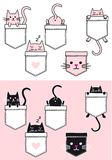 Cute cat in a pocket, vector set Royalty Free Illustration