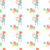 Cute cat in polka dots dress with balloons seamless pattern on white background. Stock Image