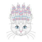 Cute cat portrait with war bonnet on head. Hand drawn kitty face Royalty Free Stock Photography