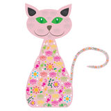 Cute vector  cat with pretty flowers on a white ba Stock Images