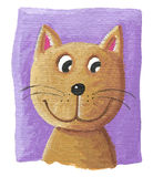 Cute cat on purple background. Acrylic illustration of the cute cat on purple background Royalty Free Stock Photography