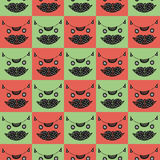 Cute cat's head seamless checkered pattern in green and pink colors Stock Photo