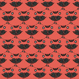 Cute cat's head seamless pattern on a pink background Royalty Free Stock Photos