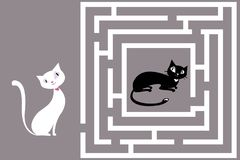 Cute Cat`s Maze game Stock Images