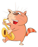 Cute Cat Saxophonist Cartoon Stock Photography