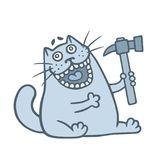 Cute cat sells a hammer. Vector illustration. royalty free stock images