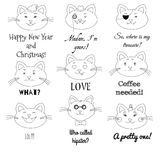 Cute cat set. Grumpy, pirate, sir, girl, santa, in love, laughing, hipster, sad cats illustrations with text labels. Royalty Free Stock Photos