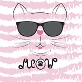 Cute cat silhouette. Black head of Cat with  lettering word `Meow`. Royalty Free Stock Photo