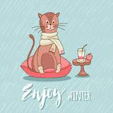 Cute cat sitting on the pillow. Cute Cartoon cat in socks and scarf sitting on a pillow near smoothies and apple, enjoy the comfort. Children`s illustration Royalty Free Stock Photo