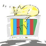 Cute cat. Cute cat sleeping on the TV. Vector Royalty Free Stock Images