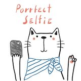 Cute cat with a smart phone. Hand drawn portrait of a cute funny cat in a scarf with a smart phone, taking selfie. Isolated objects on white background. Line Stock Image