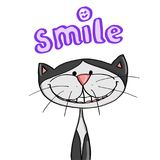 Cute cat smiling and illustration cartoon and smile text Stock Photos