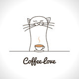 Cute cat sniffing coffee cup. Adorable animal. Vector illustration Stock Images
