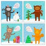 Cute cat, squirrel, bear, deer. Greeting card Royalty Free Stock Photos