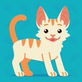 Cute cat standing. Vector illustration of a happy kitten with tail up on blue background. Emoji. Element for your design Stock Image