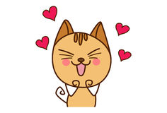 Cute Cat Sticker feeling loved. Stock Photography