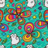 Cute cat style flower seamless pattern Royalty Free Stock Images