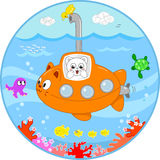 Cute cat on submarine under water. Cute cat in a submarine looking with surprise at the sea life under water. Digital illustration for kids Royalty Free Stock Images