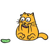Cute cat turned and was frightened of the terrible cucumber. Vector illustration. Cute cat turned and was frightened of the terrible cucumber. Funny cartoon Stock Photography