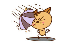 Cute Cat with an umbrella strongly standing against the rain. Vector Illustration. Isolated on white background royalty free illustration