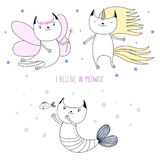 Cute cat unicorn, fairy, mermaid. Hand drawn vector illustration of a cute cat unicorn, flower fairy, mermaid, among the stars, with text I believe in meowgic Royalty Free Stock Photography