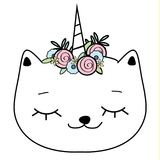 Cute cat with unicorn horn. Caticorn