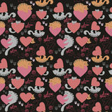 Cute cat Valentine`s Day pattern. Seamless pattern with cats and hearts for Valentine`s Day Stock Photo
