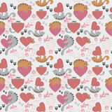 Cute cat Valentine`s Day pattern. Seamless pattern with cats and hearts for Valentine`s Day Stock Photos