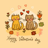 Cute cat valentines card Royalty Free Stock Photography
