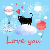 Vector festive greeting card with enamored funny cat. Cute cat vector.T-shirt Print.Love cards.Valentine`s Day.animal print.Children illustration for school Royalty Free Stock Photos