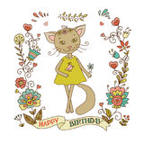 Cute cat with vintage frame Royalty Free Stock Photos