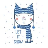 Cute cat in a warm hat. Hand drawn vector portrait of a cute funny cat in a warm hat with pompoms, text Let it snow. Isolated objects on white background with Royalty Free Stock Image