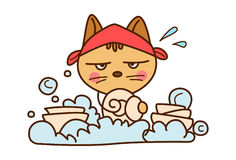 Cute Cat washing dishes. vector illustration