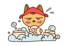 Cute Cat washing dishes. Vector Illustration. Isolated on white background Stock Image