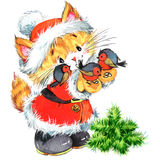 Cute cat. Watercolor funny cat and Christmas background Stock Photography