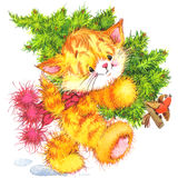 Cute cat. Watercolor funny cat and Christmas background Stock Photo