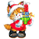 Cute cat. Watercolor funny cat and Christmas background with winter decoration. watercolor painting Stock Photo