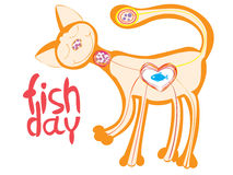 Cute cat who loves to eat fish. Vector Royalty Free Stock Photos