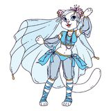 Cute cat woman belly dancer. vector illustration