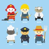Cute Cat Workers Vector Set royalty free illustration