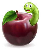 Cute caterpillar apple. Illustration of a cute happy green caterpillar or worm coming out of a juicy red apple Stock Photo