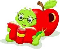 Cute caterpillar cartoon. Cartoon caterpillar reading a book Stock Images