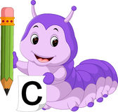 Cute caterpillar holding pencil Royalty Free Stock Images