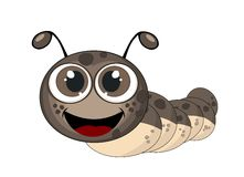 Cute caterpillar illustration with drop shadow on  brown Stock Photos