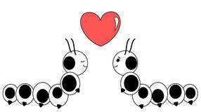Cute caterpillar in love lovely black and white cartoon illustration Royalty Free Stock Photo