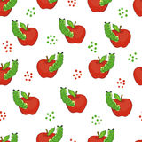 Cute caterpillars with apples. Seamless pattern. Vector background with worms and fruits Royalty Free Stock Photography