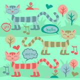 Cute cats. On the grass stock illustration