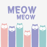 Cute cats. Background design with cute cats vector illustration